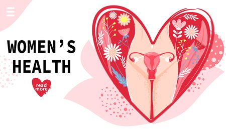 Landing page template. Womans health concept with woman body, groin of female, uterus and flowers in heart shape. Vector illustration.
