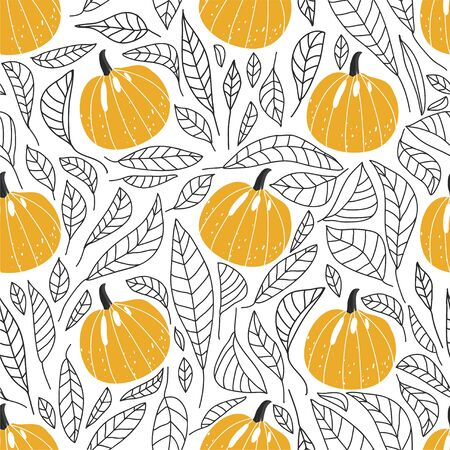 Modern seamless floral pattern with pumpkins and contour leaves. Abstract background. Texture for textile, postcard, wrapping paper, packaging etc. Vector illustration.