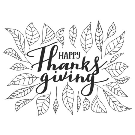 Typography composition for Thanksgiving Day. Autumn leaves and lettering. Design for greetings card, t shirts, banner, poster, sticker, etc. Vector illustration on white background. Иллюстрация