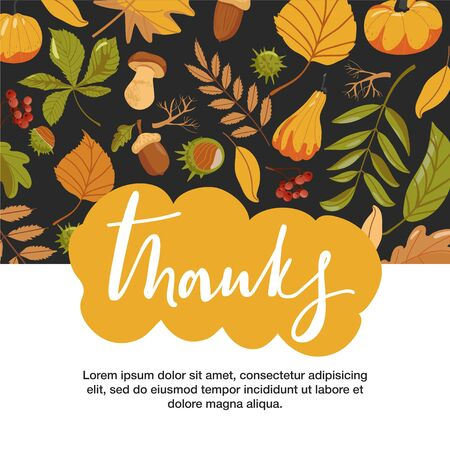 Typography composition for Thanksgiving Day. Autumn leaves, pumpkin, chestnut, acorn, mushroom and lettering. Design for greetings card, banner, poster etc. Vector illustration.