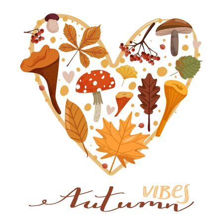 Autumn illustration. Stylish typography slogan design Autumn vibes sign. Various types of mushrooms, leafs, branch, rowan and hearts. Heart shape composition. Vector. Иллюстрация