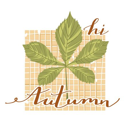 Autumn mood. Stylish typography slogan design Hi autumn sign. Chestnut leaf with checkered background and lettering. Vector. Иллюстрация