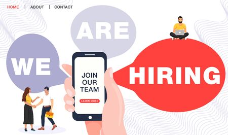 We are hiring concept. Recruitment agency. Hand holding phone with join our team word. Business people shaking hands. Landing page template. Vector illustration.