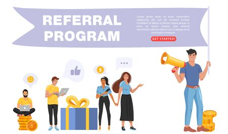Refer a friend concept. Man holding a flag with referral program word and shouting on megaphone. People share info about referral program. Social media marketing for friends. Landing page template. Vector.