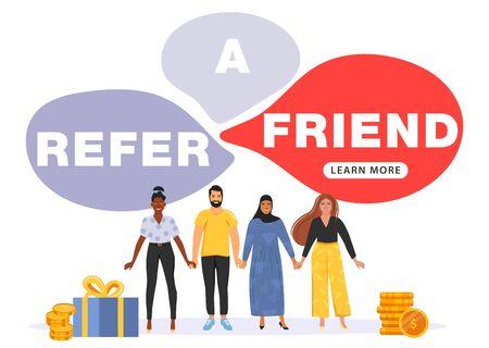 Concept de marketing de référence. Discours de bulle avec parrainer un mot d'ami. Les gens se tiennent la main. Marketing des médias sociaux pour les amis. Illustration vectorielle.