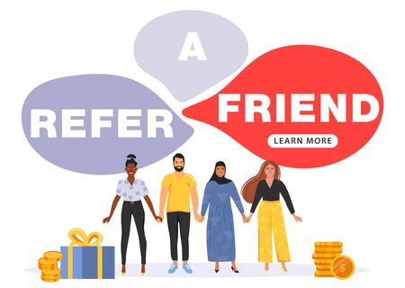 Concepto de marketing de referencia. Discurso de burbuja con referir una palabra de amigo. La gente se toma de la mano. Marketing en redes sociales para amigos. Ilustración de vector.