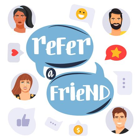 Refer a friend concept. Business partnership, referral program strategy with group of people. Social communication, loyalty program, social media marketing for friends. Banner template. Vector.