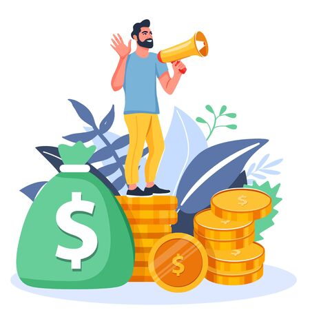 Refer a friend or Referral marketing illustration. Man with a megaphone invites his friends to referral program. Social communication, loyalty program, social media marketing for friends. Vector.
