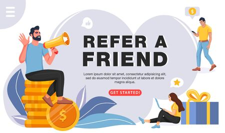 Refer a friend concept. Man with a megaphone invites his friends to referral program. People share info about referral program. Social communication, loyalty program, social media marketing for friends. Vector.