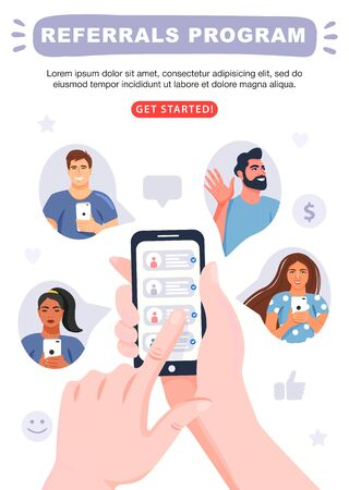 Refer a friend concept. Hands holding phone with contacts of friends. Business partnership strategy with group of people. Social communication, loyalty program, social media marketing for friends. Banner template. Vector. Иллюстрация