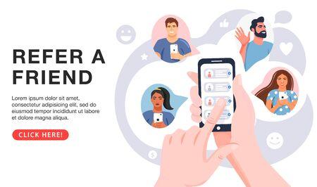 Référez un concept d'ami. Mains tenant le téléphone avec les contacts d'amis. Stratégie de partenariat commercial avec un groupe de personnes. Communication sociale, programme de fidélité, marketing des médias sociaux pour les amis. Modèle de page de destination. Vecteur.