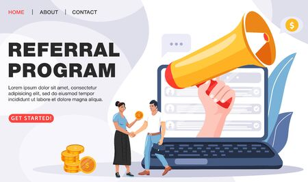 Refer a friend concept. Laptop notebook screen with loudspeaker invites friends to referral program. Business people shaking hands. Loyalty program, social media marketing for friends. Landing page template. Vector.
