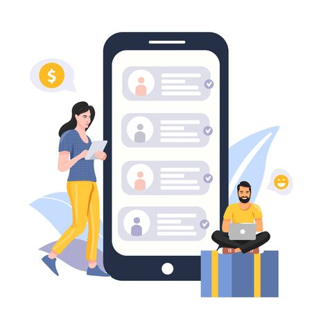 Refer a friend concept. People share info about referral program. Woman with tablet. Man with laptop. Big phone with contacts of friends. Social communication, loyalty program, social media marketing for friends. Vector.