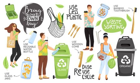 Zero waste concept set with eco objects, people and lettering. Shopping bag, container, comb, bottle, jar, toothbrush, vegetable etc. Eco life. Vector. Ilustrace