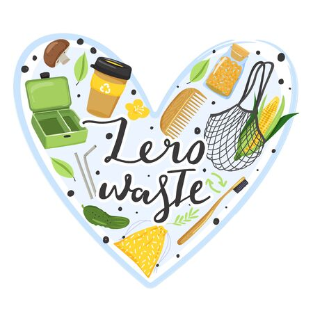 Zero waste concept. Set of various eco objects and lettering. Heart shape composition. Vector illustration on white background. Ilustrace