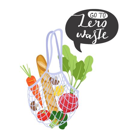 Zero waste concept. Eco bag with vegetables for eco friendly living. Stylish typography slogan design Go to zero waste sign. Vector illustration. Illustration
