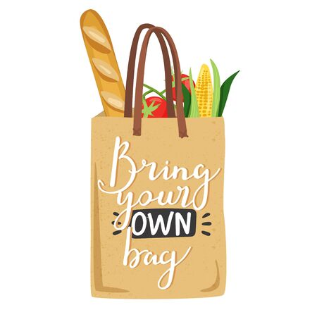 Zero waste concept. Eco bag with vegetables for eco friendly living. Stylish typography slogan design Bring your own bag sign. Vector illustration. Illustration
