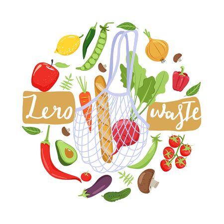 Concepto de desperdicio cero. Bolsa ecológica con verduras para una vida ecológica. Composición en forma de círculo. Ilustración vectorial sobre fondo blanco.