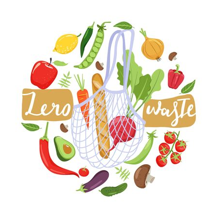 Rifiuti zero concetto. Borsa ecologica con verdure per una vita ecologica. Composizione a forma di cerchio. Illustrazione vettoriale su sfondo bianco.