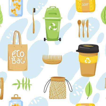 Seamless pattern with different eco objects. Shopping bag, container, cup, comb, toothbrush, cutlery, jar, soap etc. Texture for textile, wrapping paper, packaging etc. Vector on abstract background.