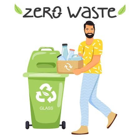 Recycling concept. Man sort garbage into containers for recycling. Stylish typography slogan design Zero waste sign. Vector illustration.
