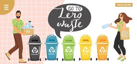 """Notion de recyclage. Les gens trient les ordures dans des conteneurs pour les recycler. Modèle de conception de page de destination de site Web. Conception élégante de slogan de typographie """"allez au zéro déchet"""". Vecteur."""