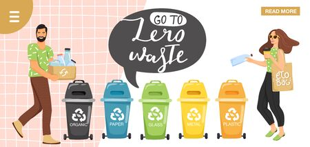 """Recycling concept. People sorting garbage into containers for recycling. Website landing page design template. Stylish typography slogan design """"go to zero waste"""" sign. Vector."""