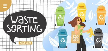 Recycling concept. Woman sorting garbage into containers for recycling. Website landing page design template. Stylish typography slogan design waste sorting sign. Vector.