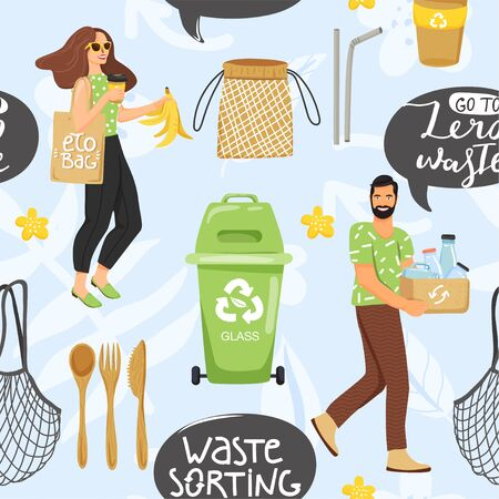 Seamless pattern with different eco objects and people. Recycling concept. Shopping bag, container, comb, metal straw, cutlery, jar, leaf etc. Texture for textile, wrapping paper and packaging. Vector on abstract background. Illusztráció