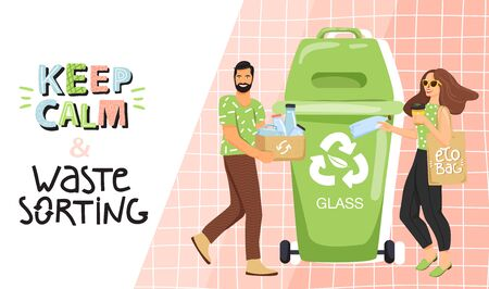 Recycling concept. People sorting garbage into containers for recycling. Website landing page design template. Stylish typography slogan design keep calm and waste sorting sign. Vector. Çizim