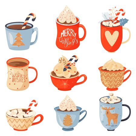 Christmas and Happy New Year set. Mugs of cacao with whipped cream, marshmallow and candy cane. Greeting card for Xmas, New year or winter holidays. Vector design template.