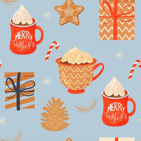 Seamless Christmas pattern with mugs of cacao with whipped cream, gifts, ginger cookie, lollipop and pinecone. Vector illustration for textile, postcard, wrapping paper, poster, background, book, t-shirt.