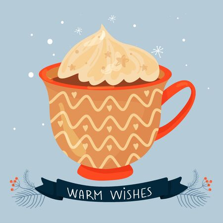Christmas and Happy New Year illustration. Mug with cacao and whipped cream. Greeting card for Xmas, New year or winter holidays. Vector design template.