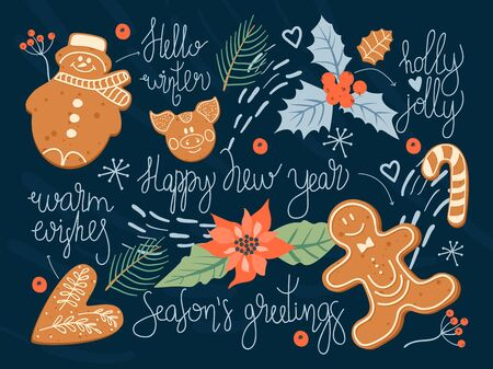 Christmas and Happy New Year greeting card with Christmas cookies, Holly leaves, berries, spruce twigs, poinsettia and  lettering. Vector design template.  イラスト・ベクター素材