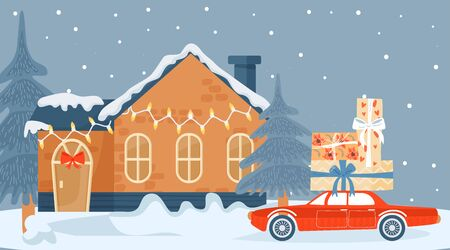 Christmas and Happy New Year greeting card with winter house and car with Christmas presents. Vector illustration for postcard, poster, cover, invitation.  일러스트