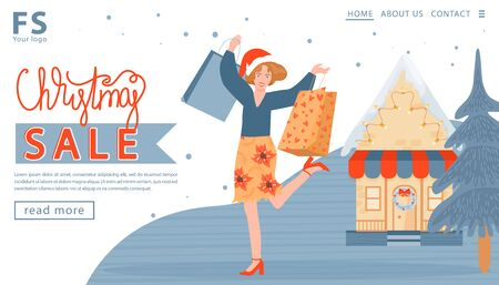 Landing page template for a company sales. Christmas and Happy New Year sales banner. Happy girls with Christmas gifts and purchases and shop. Vector illustration.