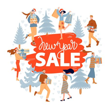 Christmas shopping. Christmas and Happy New Year sales poster. Happy people with Christmas gifts and fir-tree. Vector illustration.
