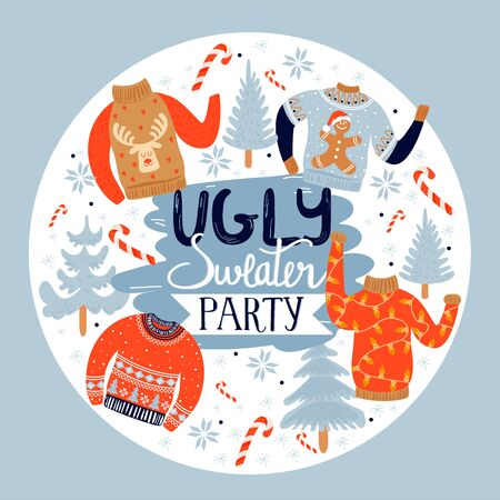 Christmas and Happy New Year invitation template on ugly sweater party. Illustration with ugly sweaters, fir-trees, candy, snowflakes and inscription. Vector illustration.