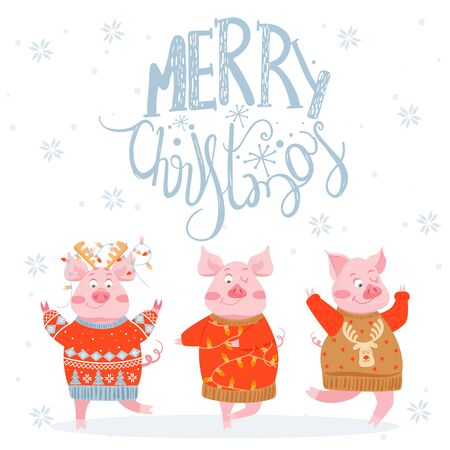 Christmas and Happy New Year greeting card. Illustration with happy pigs in sweaters. Vector illustration. Vettoriali