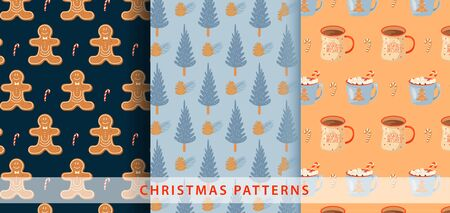 Set of Christmas pattern. Illustration with gingerbread man, candy,  fir-tree and mugs of cacao. Vector illustration for textile, postcard, wrapping paper, poster, background, cover.