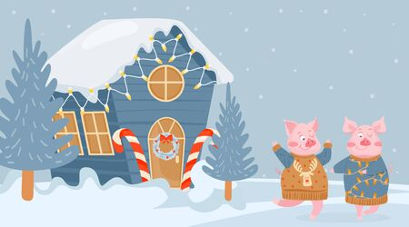 Christmas and Happy New Year greeting card. Happy pig dancing near the snowy house. Vector illustration for postcard, poster, cover.