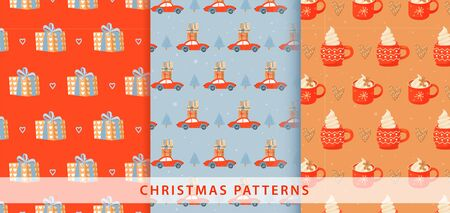 Set of Christmas pattern. Illustration with gift, car with presents,  fir-tree, ginger cookie and mugs of cacao. Vector illustration for textile, postcard, wrapping paper, poster, background, cover.