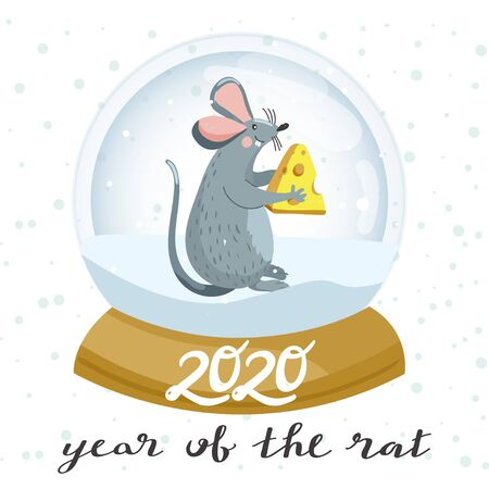 Snow globe and cute mouse with cheese. Rat is Chinese symbol 2020 year. Merry Christmas and Happy New Year greeting card. Vector illustration.
