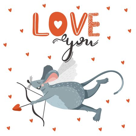"""Greeting day card with cute rat cupid shoots a bow. Stylish typography slogan design """"love you"""" sign. Vector illustration."""