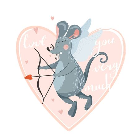 Greeting day card with cute rat cupid shoots a bow. Stylish typography slogan design