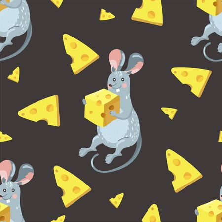 Seamless pattern with rat and cheese. Texture for textile, postcard, wrapping paper, packaging etc. Vector illustration on black background.