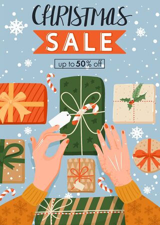 Christmas sale banner. Woman's hands wrapping Christmas presents. Preparing for New Year. Vector illustration for website, poster, coupons, invitation card.