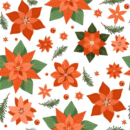 Floral Christmas seamless pattern with poinsettia, tree branch and various flowers. Texture for textile, postcard, wrapping paper etc. Vector illustration on white background. Illusztráció