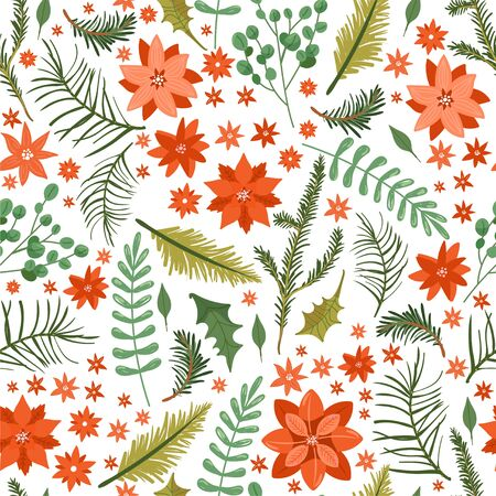 Floral Christmas seamless pattern with flower poinsettia, tree branch, leaves, holly leaves, pine cone, berry, eucalyptus etc. Texture for textile, postcard, wrapping paper etc. Vector illustration on white background.