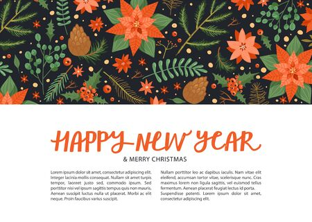 Merry Christmas and Happy New Year design template with copy space. Set with flower poinsettia, tree branch, leaves, holly leaves, berry, eucalyptus etc. Design for postcard, invitation, poster, banner etc. Vector.